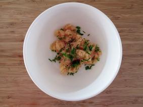 Blended white fish with chopped chives, salt and black pepper.